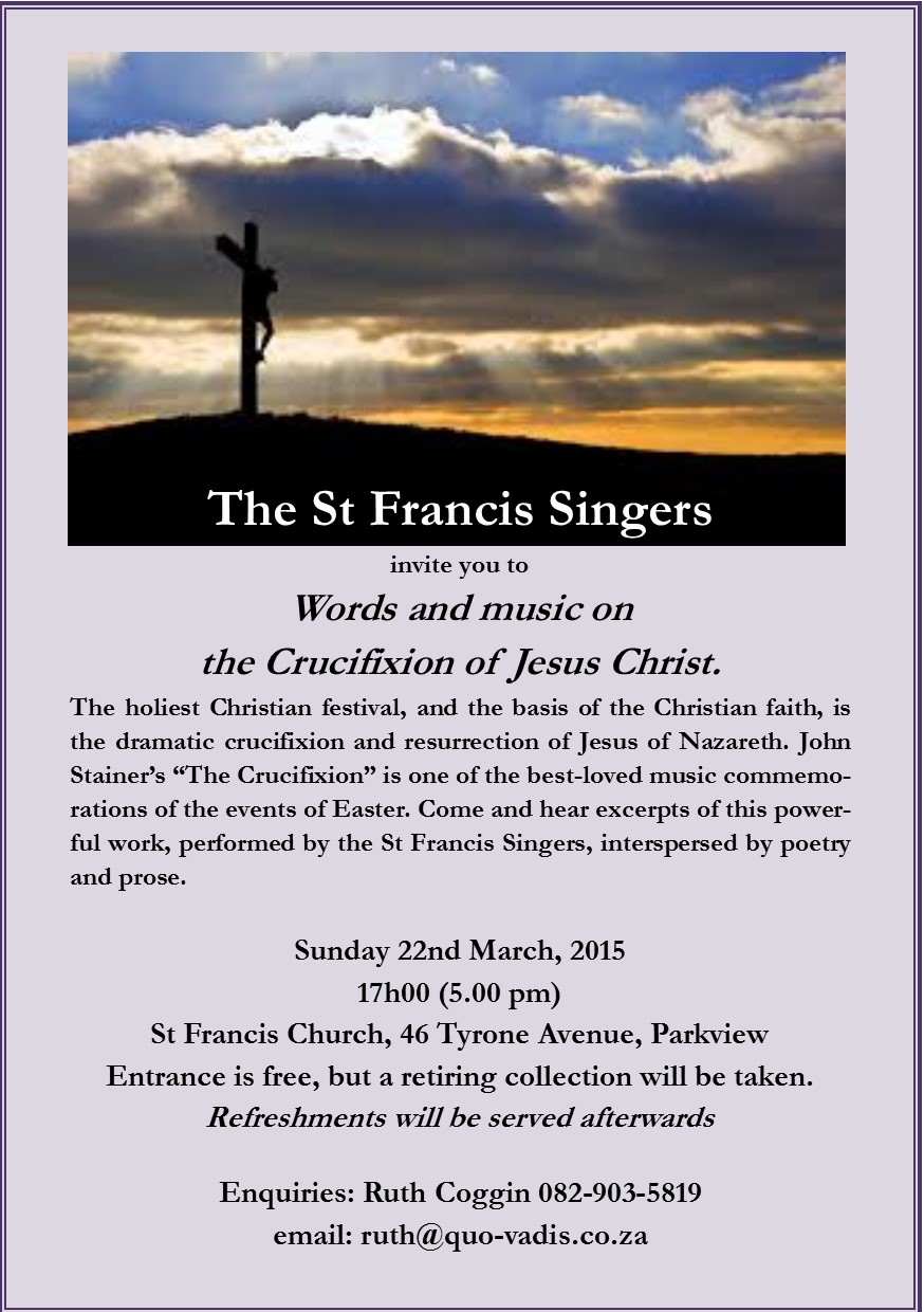 words and music on the crucifixion of jesus christ st francis of