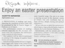 RKG 20 March 2015 Easter programme