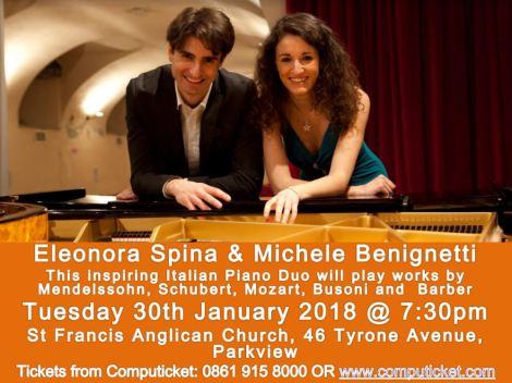 Italian Piano Duo to play at StFrancis